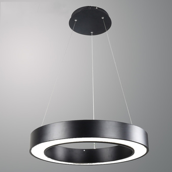Simple Modern LED Pendant Light Round Circle Suspension Hanglamp Black White Ceiling Hanging Lamp for Office Home Showroom
