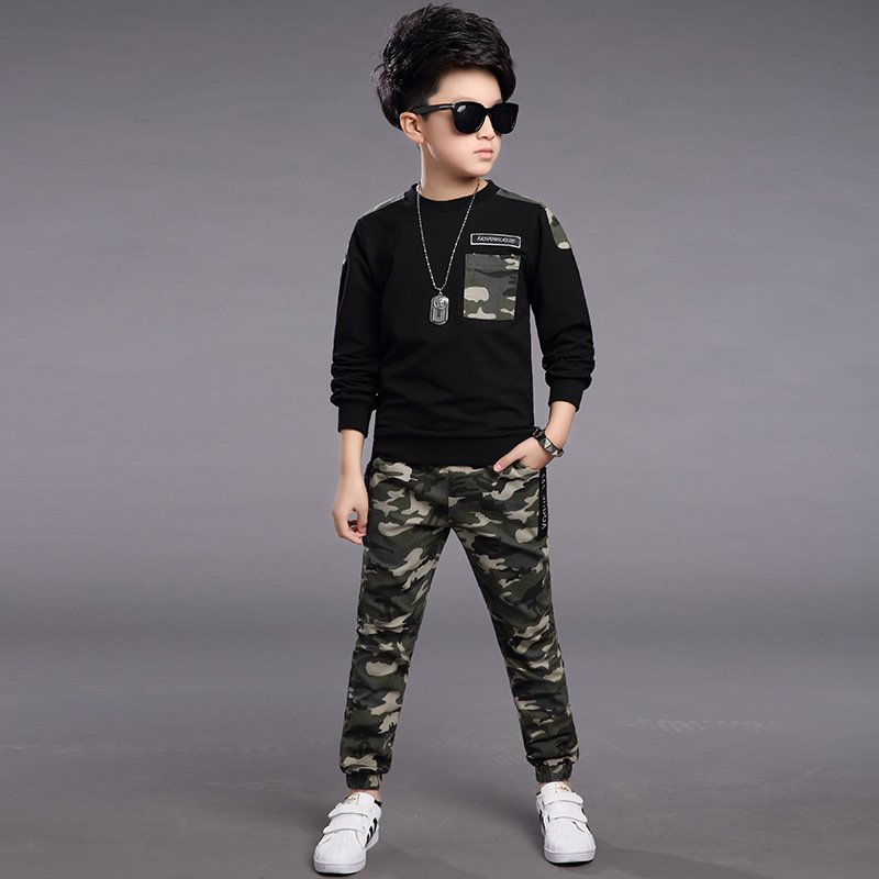 New 2017 Spring Boys Sets Children's Fashion Casual Patchwork Shirts+Pants 2 Pieces Clothing Baby O-Neck Long-Sleeves Suits Kids