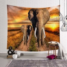 Short Velveteen Tapestry Wall Hanging Tapestry Blanket House Art Decor Polyester Elephant Printed Window Cover Beach Mat Sheet