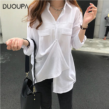 DUOUPA Womens 2019 Long Sleeve Lapel Office Loose Casual Shirt Single Breasted Pocket