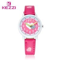 KEZZI Love Hearts Megir Watches Girl Leather Printing Strap Cartoon Kids Watch Students Quartz Wristwatch Casual