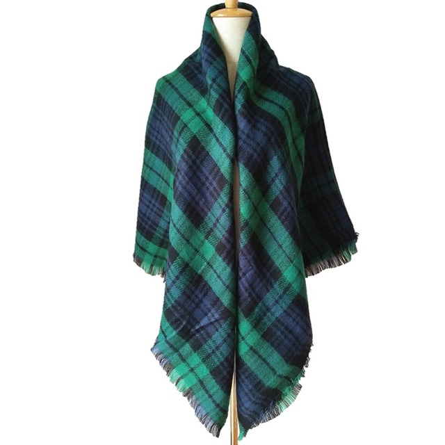 Women Scarf Cashmere Warm Plaid Pashmina
