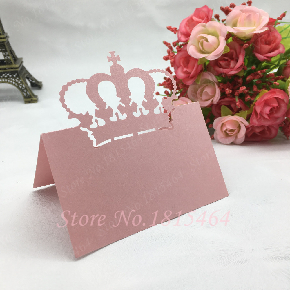 50pcs New Crown Place Name Cards Number Cards Paper Wedding Favor ...