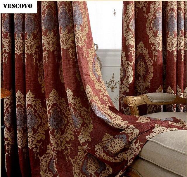 VESCOVO Rot Royal Luxus Vorhänge Für Schlafzimmer Fenster Vorhänge  Wohnzimmer Elegante Jalousien Vorhänge Gardinen Volant