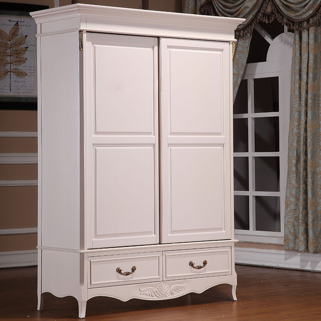 American Pastoral Double Door Wardrobe White Carved Small Overall