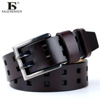 2017 New Business Belt Double Pin Buckle Cowhide Leather Belt For Men Ceinture Homme Men Belt