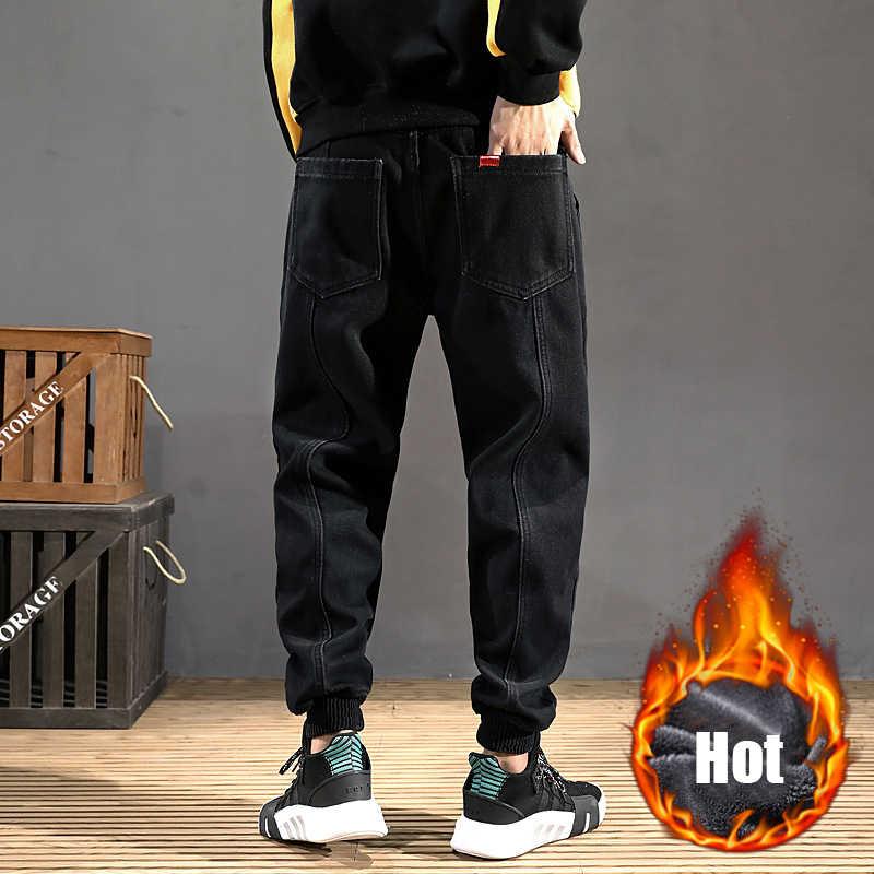 Fashion Winter Warm Jeans Mannen Zwarte Kleur Losse Fit Dikke Fleece Broek Patch Ontwerp Streetwear Hip Hop Fluwelen Jogger Jeans homme