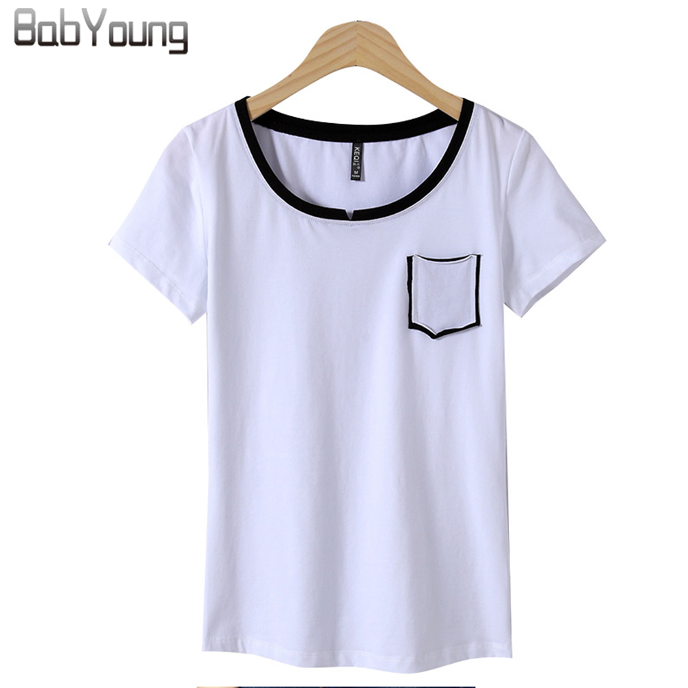 Babyoung 2017 summer tops women casual t shirts cotton t for Short t shirts ladies