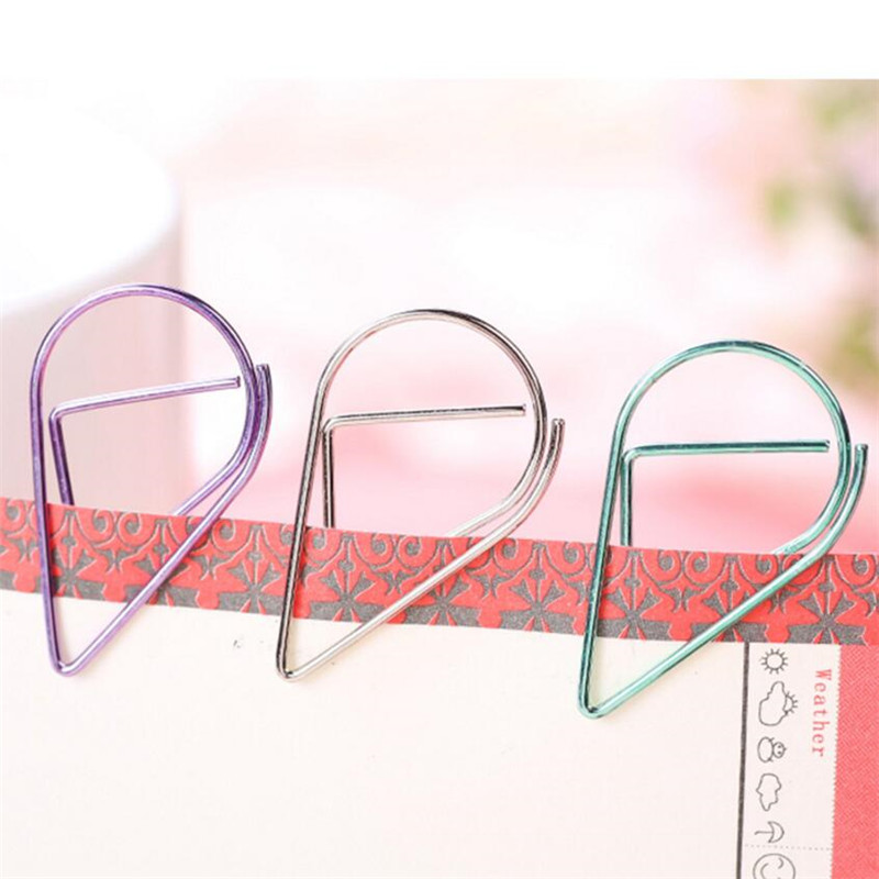50pcs/lots 6 Colours Simple Metal Bookmark FOR BOOKS Cute Paper Clip Holder Drops Of Water Mini Small  Paper Clips Stationery