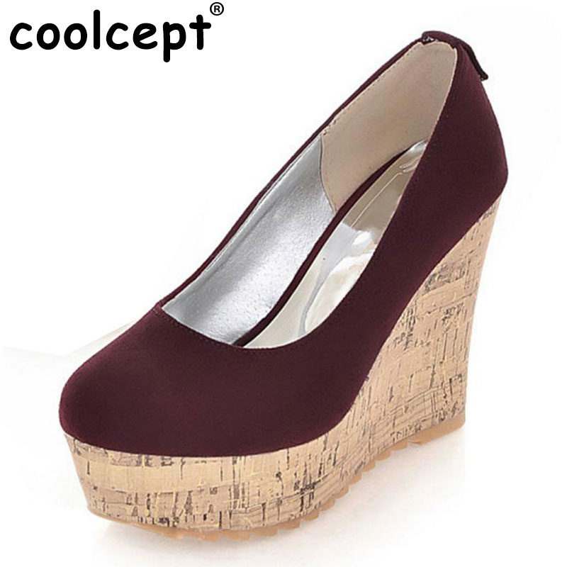 Coolcept women high heel wedge shoes platform woman sexy dress footwear fashion pumps P10691 hot sale EUR size 34-39 nayiduyun women genuine leather wedge high heel pumps platform creepers round toe slip on casual shoes boots wedge sneakers