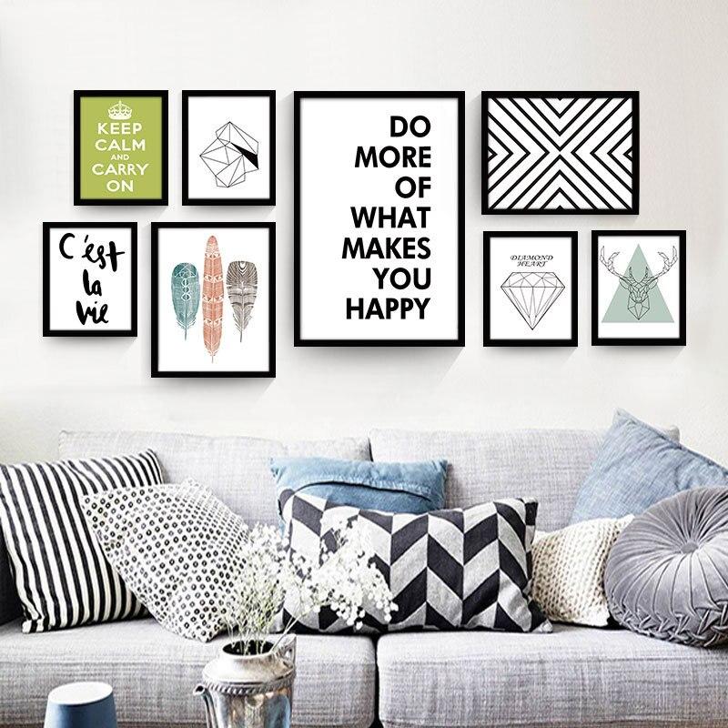 €2.86 21% de réduction|Nordique décoratif peinture moderne salon mur  affiche noir et blanc Anglais abstrait creative accueil toile peinture ...