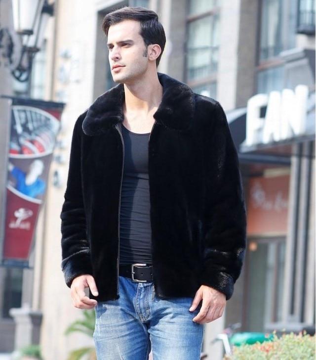 Homem Plus Size Imitação de Vison Turn-down Collar Completa Grosso Fino Casaco Masculino Casaco de Inverno Imitação De Vison Preto Casaco de Lã Quente jaquetas