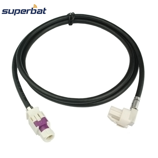Superbat Vehicle/Car HSD Cable Dacar 535 Assembly B Code Connector Straight Jack to A Code Right Angle Female for Benz BMW