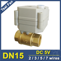 DC5V BSP NPT 1 2 Brass Motorized Valve With Manual Override And Indicator 2 Wires Control