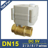 TF15-B2-B Industrial Grade Quality DC5V 2/3/5/7 Wires BSP/NPT Female 1/2'' (DN15) Brass Motorized Valve With Manual Override