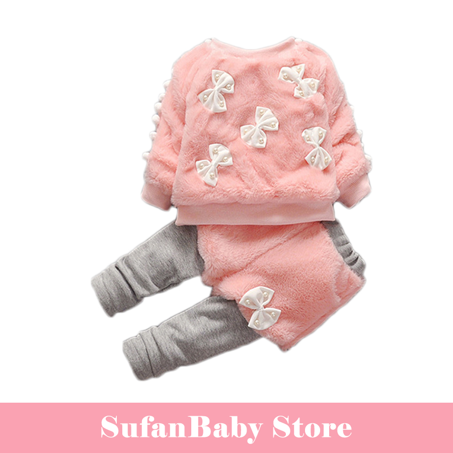COOLELVES Autumn Winter Baby Girl Warm SuitS Causal Long Sleeve Suit Toddles Girls Bowknot pearl thick