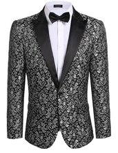 Фотография 2017 New Men Blazer Casual Slim Fit Long Sleeve Floral Slim Fit Stylish Jacket Blazer Free shipping