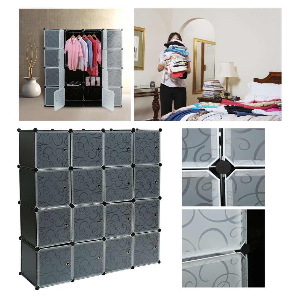 16 Lattice DIY Magic Assembled Wardrobe Simple Clothing Storage Cabinet  Bookcase Clothes Organizer Home Furniture