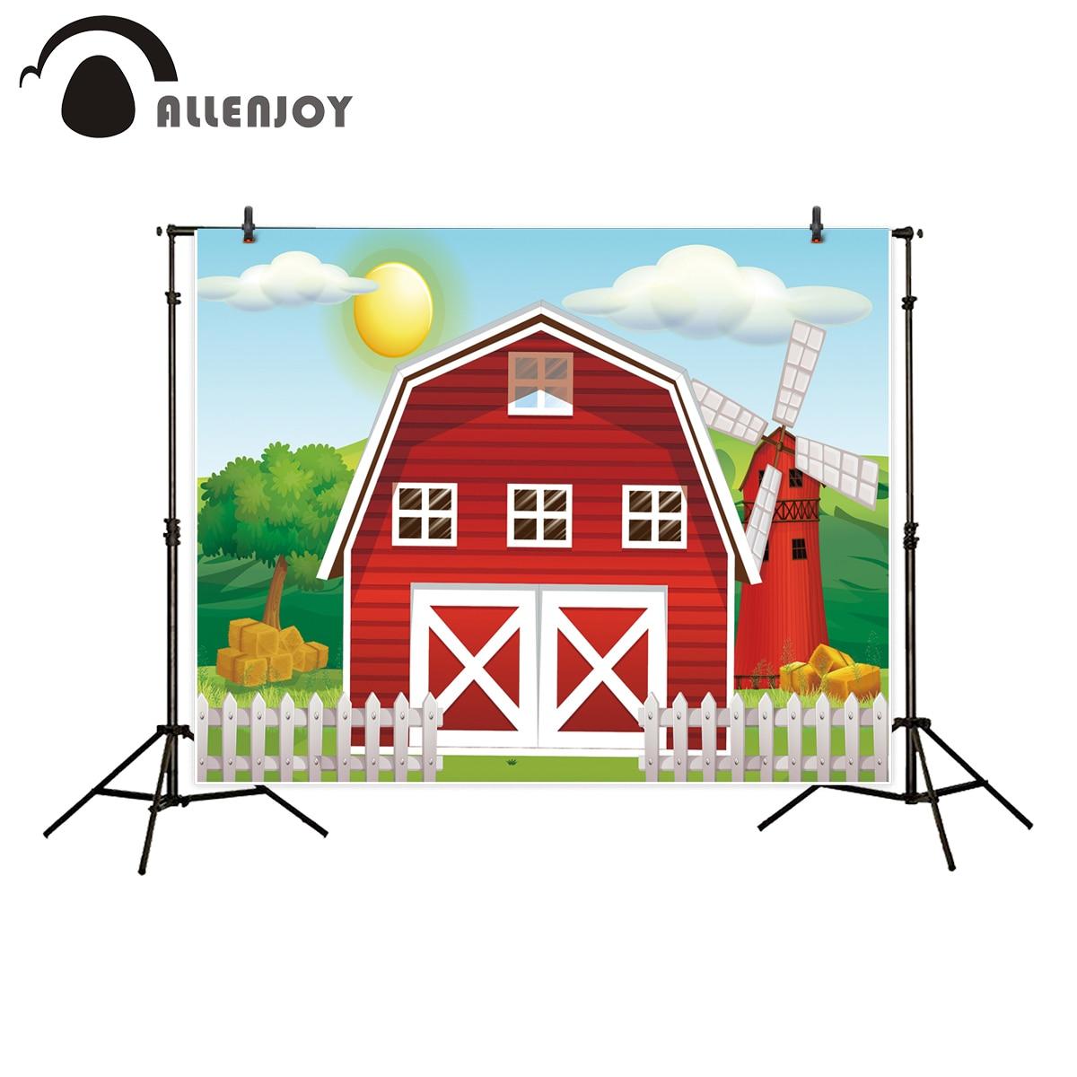 Allenjoy Farm theme photography backdrop red barn Barnyard house kids birthday illustration background photo studio photobooth цена