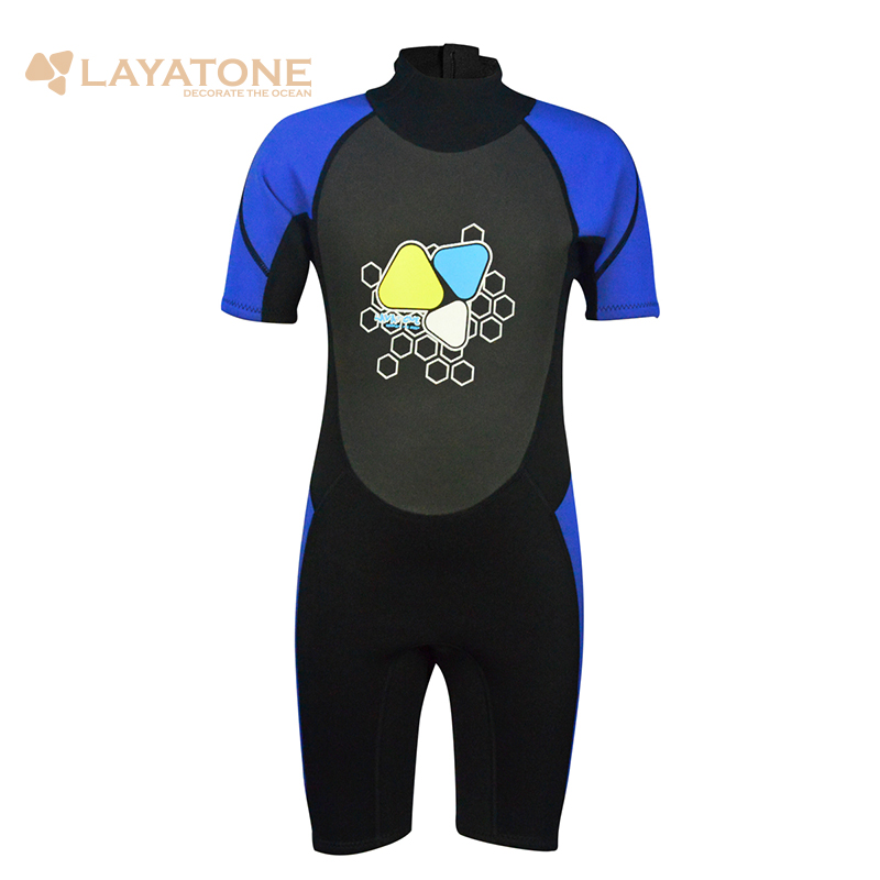 Layatone 2mm Kids Wetsuit Neoprene Short For Boys And Girls One Piece Swimsuit UV Protection Surf Wetsuit For Children B1620BL rip curl купальник sun and surf one piece