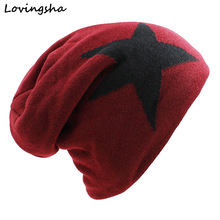 LOVINGSHA Faux Fur Warm Baggy Knitted Hat Men Beanies Knit Skullies Bonnet Hats For Men Women Beanie Men's Winter Hat Caps