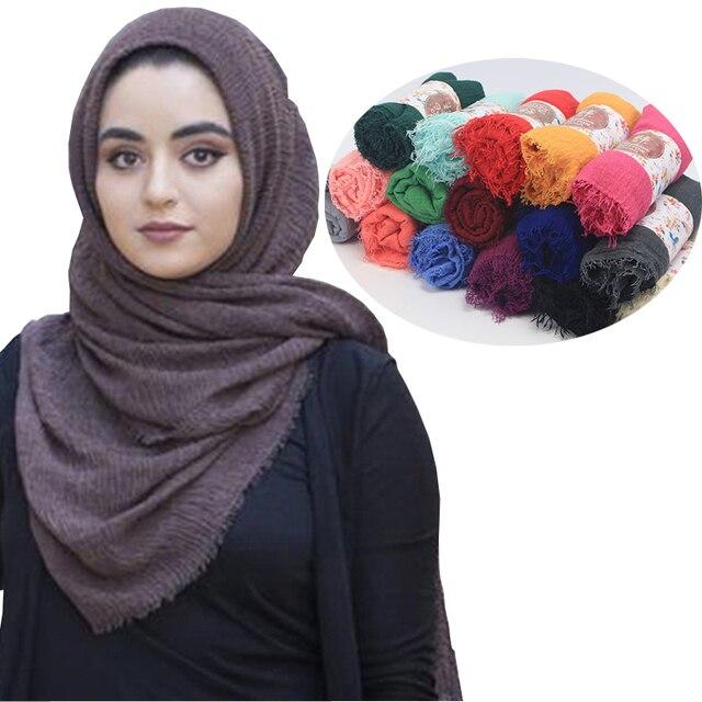 Femmes Maxi Solide Coton Écharpe Bulle Plaine Fringe Musulman Hijab Foulards  Grande Longue Pashmina Foulard Châles 14dd39e3b6d