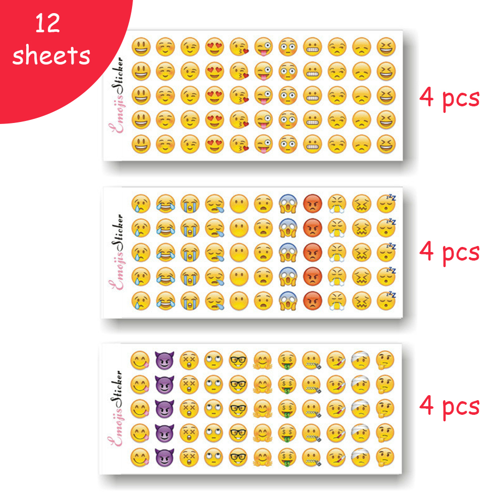12 Sheets 660 Die Smile Face Expression Emoji Stickers for Diary Photo Album Reward Notebook School Teacher Merit Praise Decor