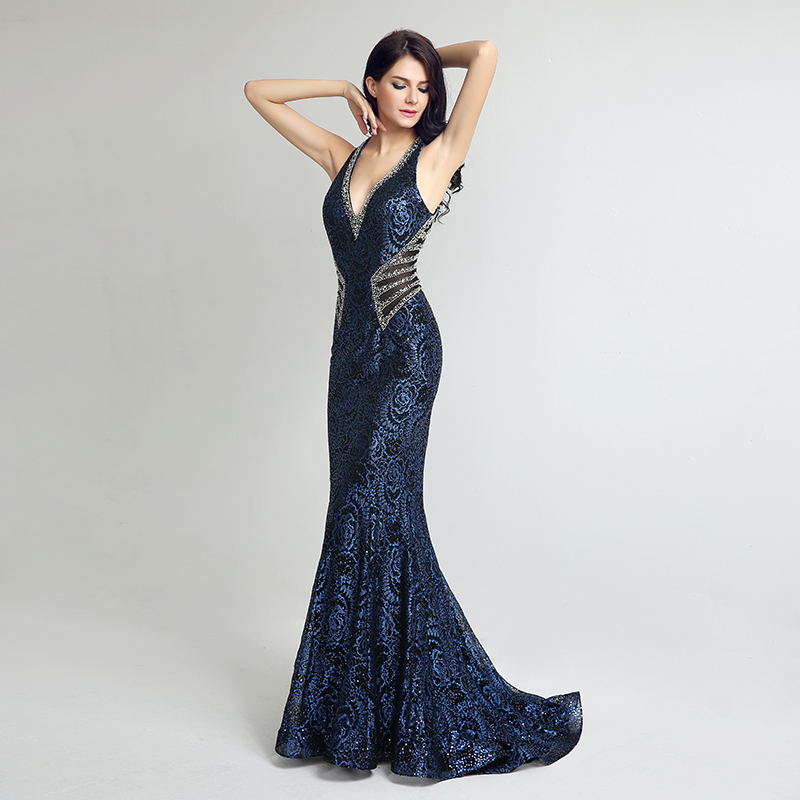 Elegant Gown Design Long Mermaid Evening Dresses Sexy V Neck Beading Women Plus Size Dress Hot Sale Formal Party Gowns LX235 4