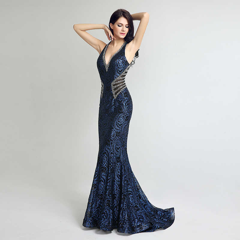 1335b30ed22a ... Elegant Gown Design Long Mermaid Evening Dresses Sexy V Neck Beading  Women Plus Size Dress Hot ...