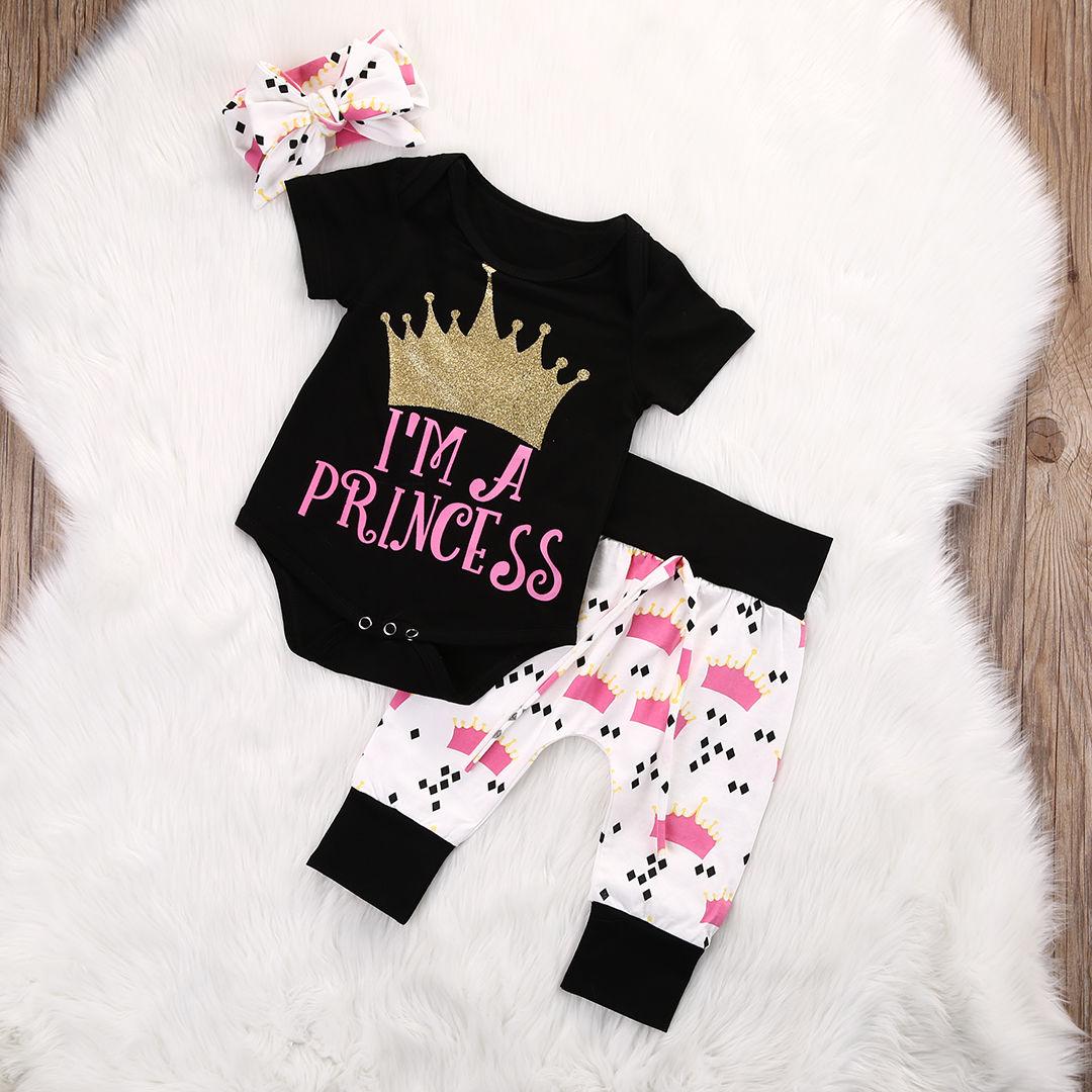 New Infant Baby Girls Crown Tops Bodysuits Pants Leggings Headband 3pcs Cute Clothing Baby Girl Outfits Set plain headband 3pcs