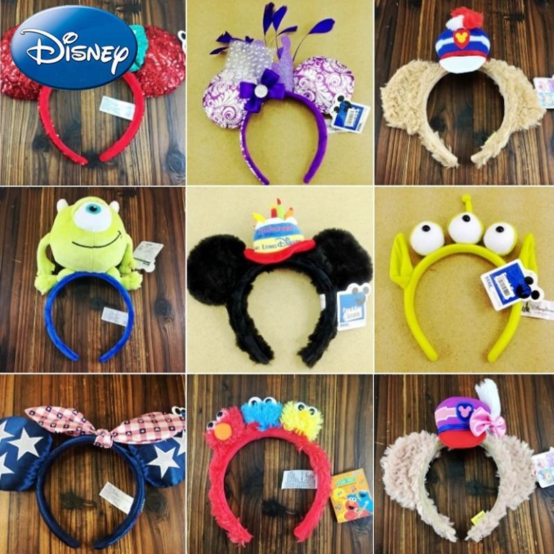 Disney Girl Mickey Minnie Hairband Play Game Women Party Headdress Ears Sequin Hair-Bands Princess Head Hoop Plush Toy Kid Gift(China)