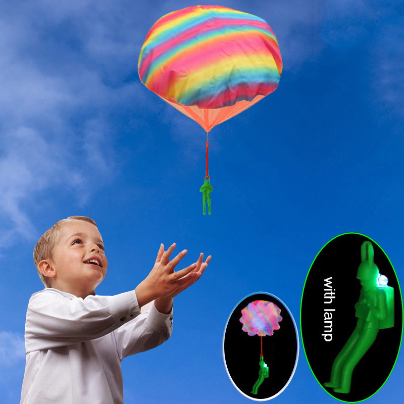 Colorful Flashing Mini Hand Throwing Parachute Outdoor Sports Fly Toy Educational Kids Playing Soldier Parachute Fun Flying Toy