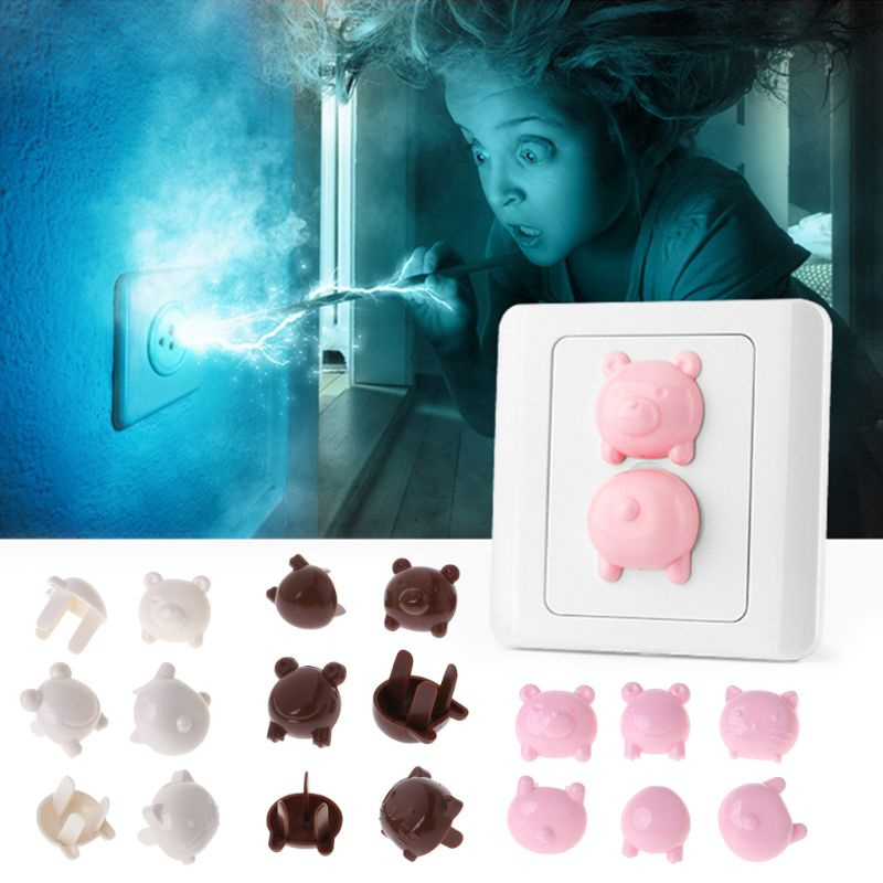 OOTDTY 6pcs Socket Cap Baby Safe Protection Electric Plug Protector Children Anti Shock