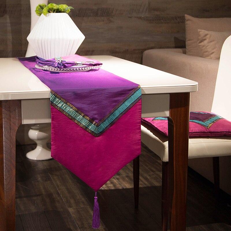 Southeast Asian style taffeta purple flag TV cabinet Restaurant table runner