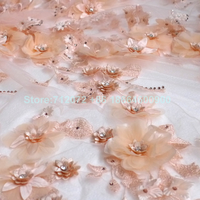 02c00cf44031 New fashion nude off white purple yellow 3D flowers Rhinestones on netting  embroidered wedding evening dress lace fabric 1 yard