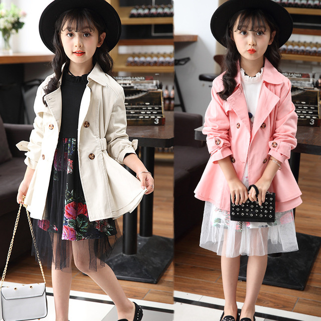 3d78a09d5 Clobee Girls Trench Coats Double Breasted Jackets For Girls Clothing ...