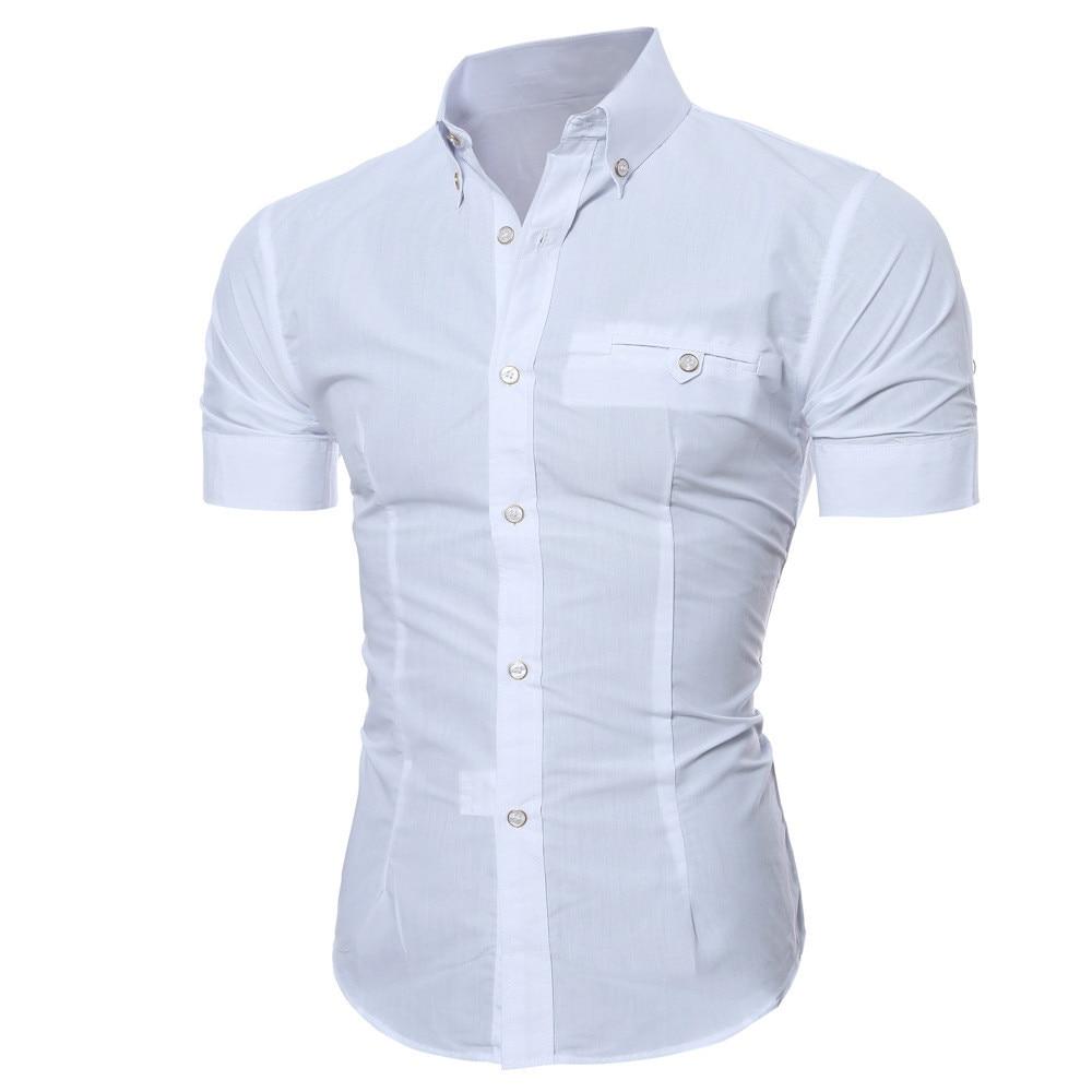 Snowshine Ylw Männer Mode Luxus Business Stilvolle Slim Fit Kurzarm Casual Shirt Freies Verschiffen SorgfäLtige FäRbeprozesse