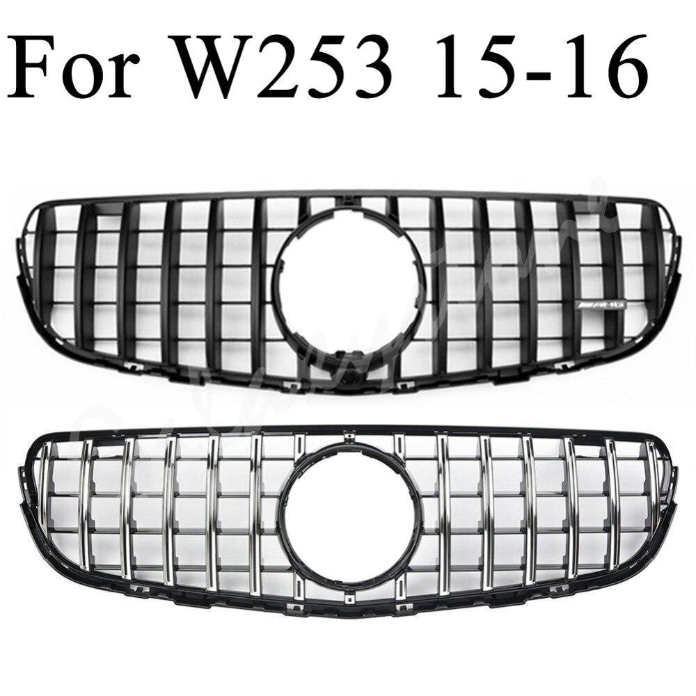 Pare-chocs de calandre de voiture adapté pour Mercedes Benz W253 GLC Sports GT Style Grille avant GLC200/250 2015 2016 avec trou de caméra