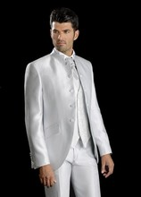 2017 Newest Coat Pant Designs Silver Satin Stand Lapel Wedding ceremony Fits for Males Go well with Customized Tuxedo three items Vestidos de Fiesta