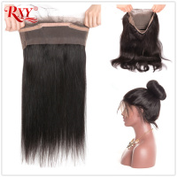 RXY Pre Plucked 360 Lace Closure Brazilian Straight Closure With Baby Hair 130% Density Remy Human Hair Can be Dyed