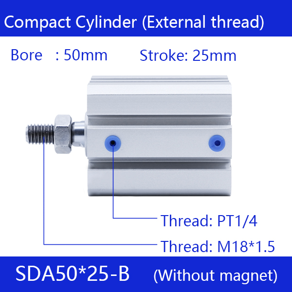 SDA50*25-B Free shipping 50mm Bore 25mm Stroke External thread Compact Air Cylinders Dual Action Air Pneumatic Cylinder