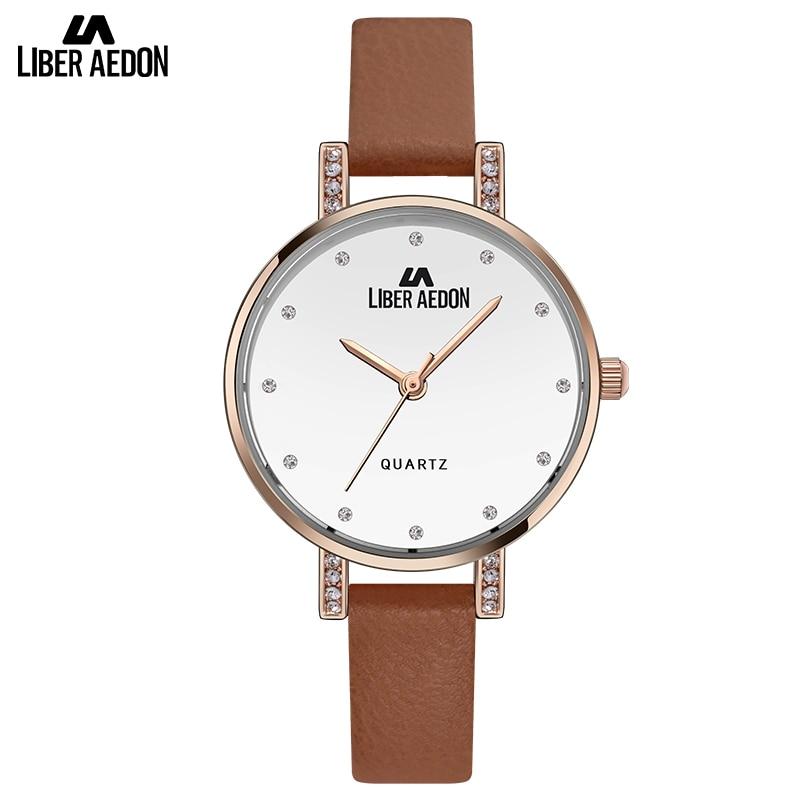 Liber aedon fashion luxury brow leather band ultra thin woman wristwatch rhinestone quartz for Celebrity quartz watch
