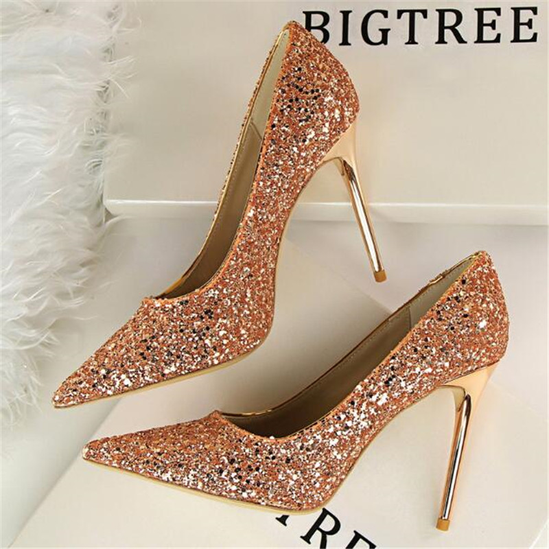LAIDILANGTU Women's high heels new women's shoes high-heeled shallow mouth pointed sequins sexy thin nightclub high-heeled shoes