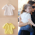 2016 summer fashion brand David girls blouses 3 color bowknot sleeve single button cute david beckham's daughter same shirts