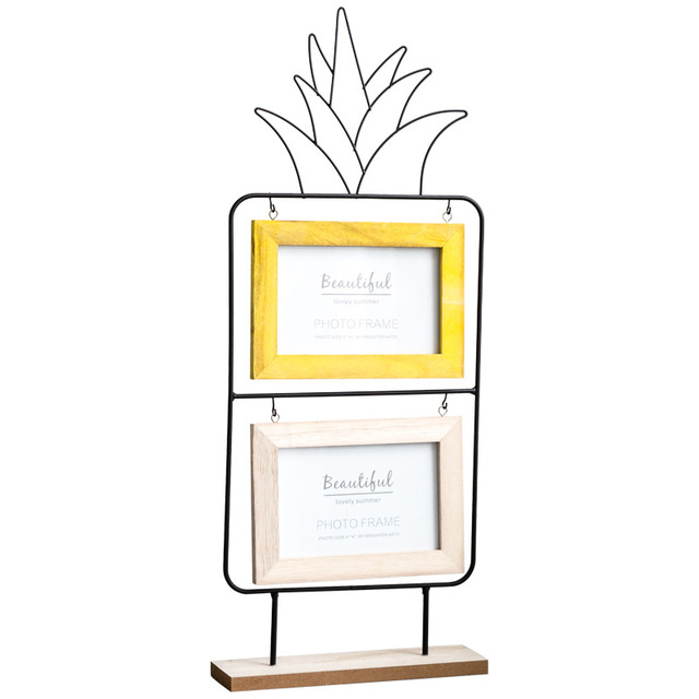 Nordic Simple Candy Colors Pineapple Photo Frame Creative Double Layer Picture Frame Iron Craft Gift Home Decoration Accessories