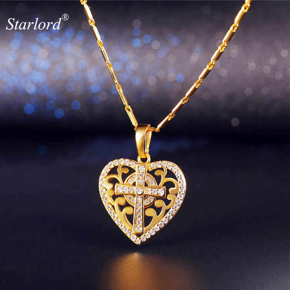 Heart Crystal Cross Necklace For Women/Teen Girls Gold/ Silver Cubic Zirconia Dainty Cross Charm Gift For Her P2432