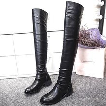 Black Cowhide Round Toe Medium Thick Heels Over the Knee Boots Women Spring New High Quality Hot Sale Fashion Beautiful Jackboot