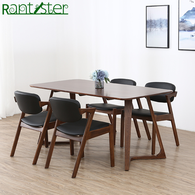 Nordic Walnut Color Solid Wood V Word Leg Table Table Log - Walnut color dining table