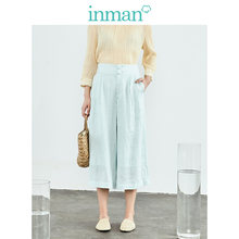INMAN 2019 Herfst Nieuwe Collectie Clear Linnen Hoge Taille Retro Losse Alle Matched Slim Fashion Straight Vrouwen Losse Broek(China)