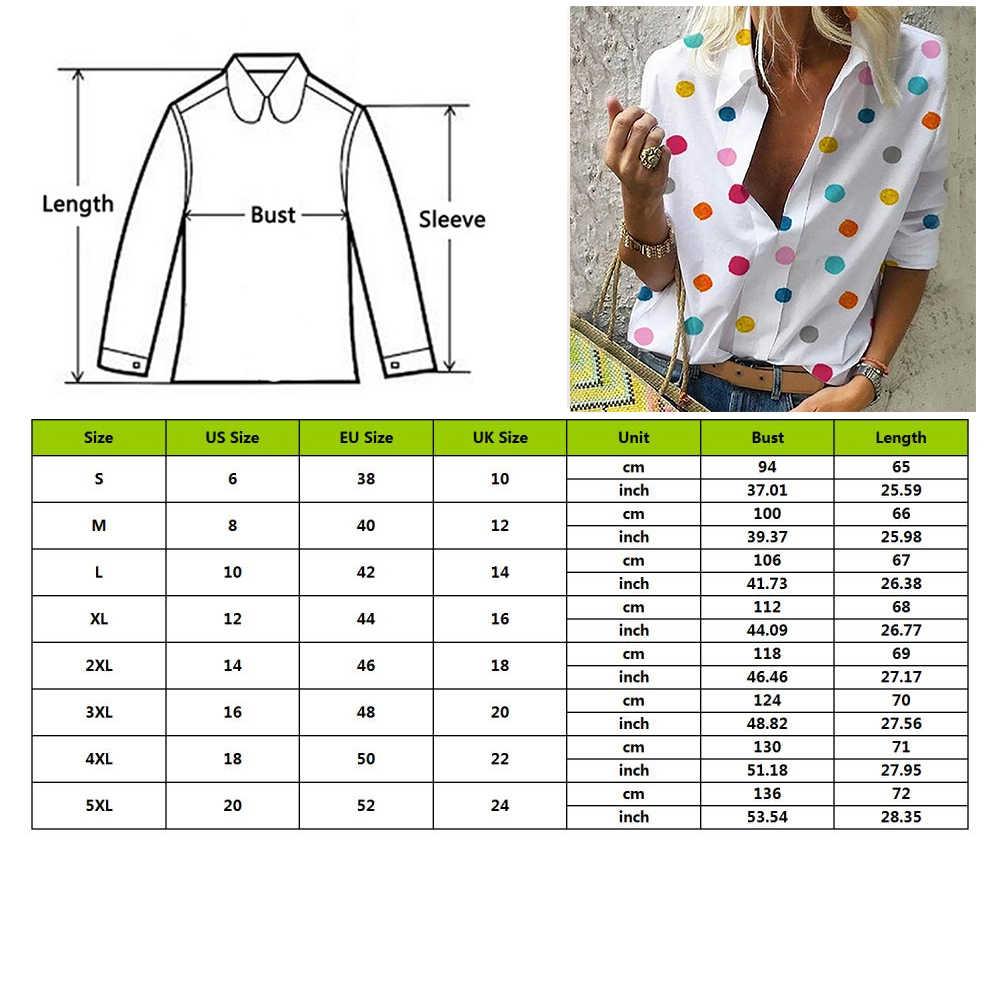 شين 2019 النساء ملون نقطة بلوزة مطبوعة قمم النساء مكتب نمط عارضة طويلة الأكمام قميص و البلوزات blusas موهير دي مودا